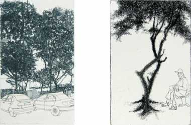 left: Cars & trees, 2008  &nbsp right: Urban tree III, 2008